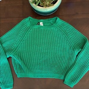 Divided H&M emerald green crop knit sweater small
